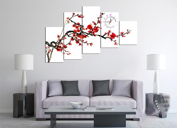Sử dụng khung ảnh treo tường trang trí phòng khách ngày tết