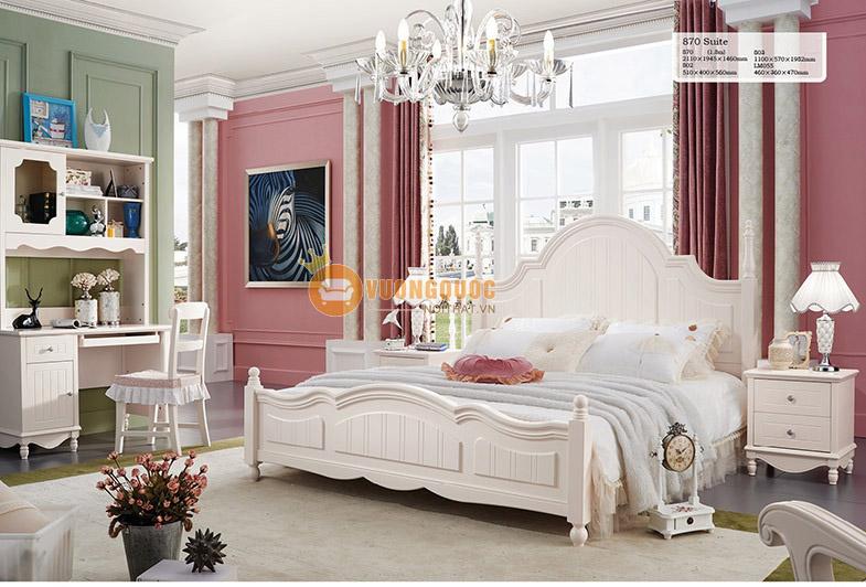 Giường ngủ cho bé gái sắc kem tinh tế JY870G