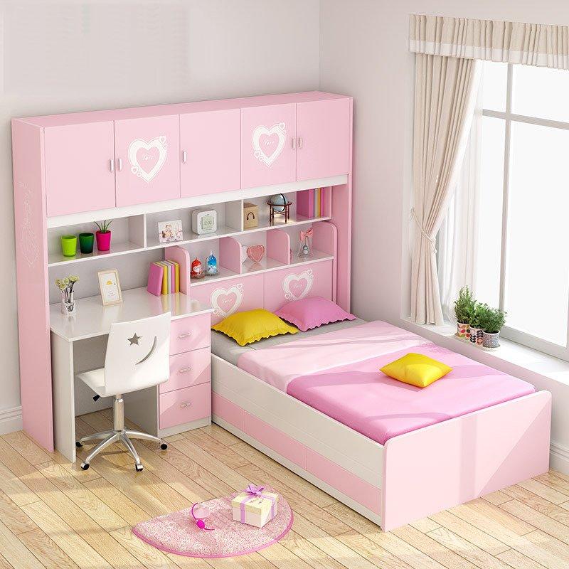 Giường ngủ kết hợp với bàn học cho bé gái