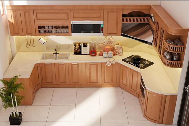 Tủ bếp gỗ tự nhiên đẹp sang trọng chắc chắn nhiều gia đình ưa chuộng